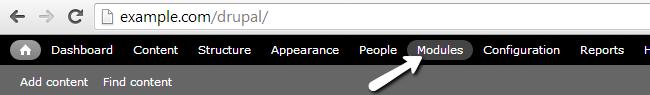 Access Modules menu in Drupal