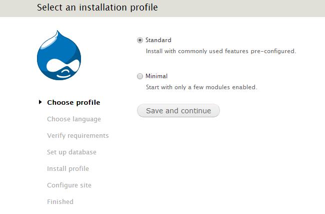 Choose Drupal profile for installation