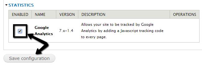 Activate Google Analytics in Drupal