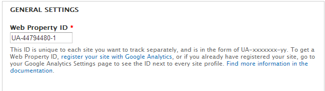 Set web ID for Google Analytics in Drupal