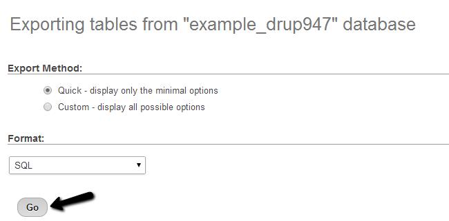 Download a dump backup of your database via phpMyAdmin