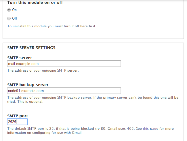 Configuration options for SMTP module in Drupal