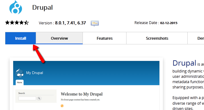 Installing Drupal 8 via Softaculous