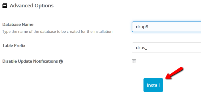 Configuring the Advanced Options for Drupal 8 and Installing