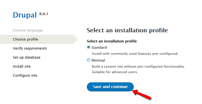 Selecting a Drupal 8 installation profile