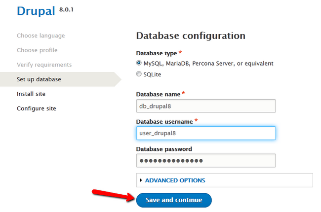 Configuring the Database for Drupal 8