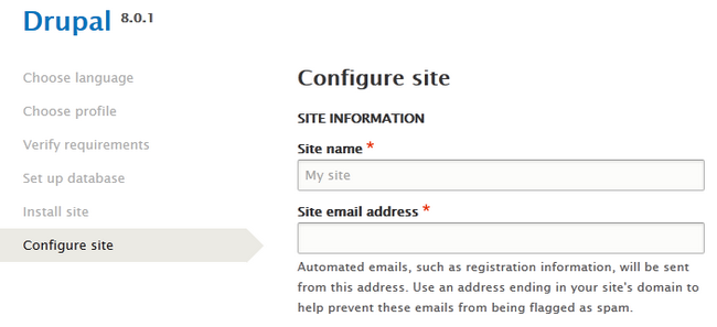 Filling the Site information
