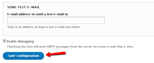 Sending a test email and completing the setup of SMTP