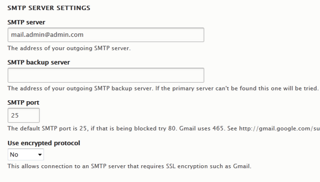 Configuring the SMTP Server Settings