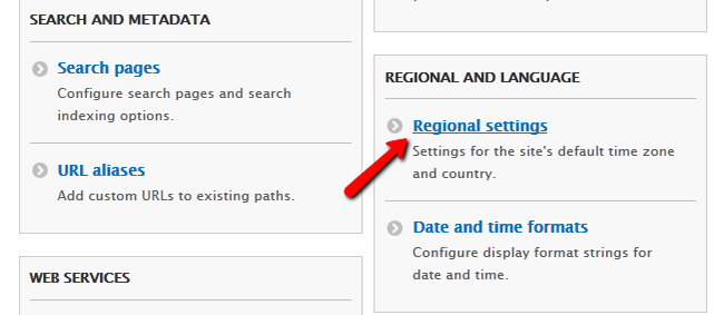 Opening the Regional Settings for Drupal 8
