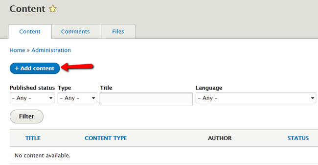 adding new content in Drupal 8
