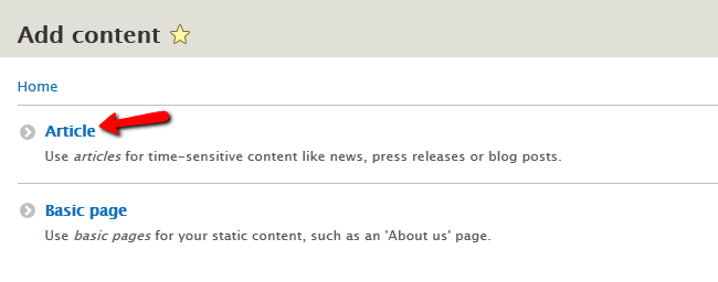 select the article content option