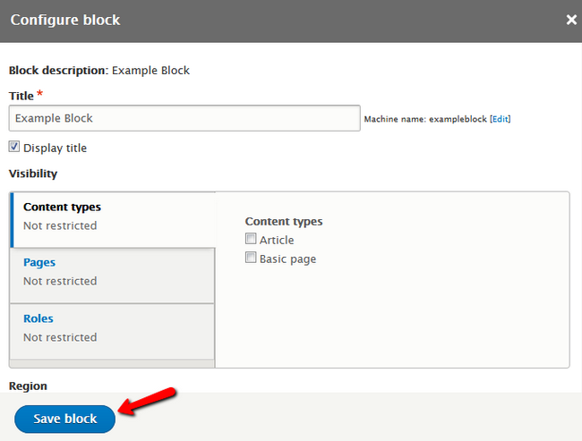 Configuring the Block's Title and Visability Settings