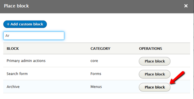 Selecting the newly Created Menu for Insertion into a block