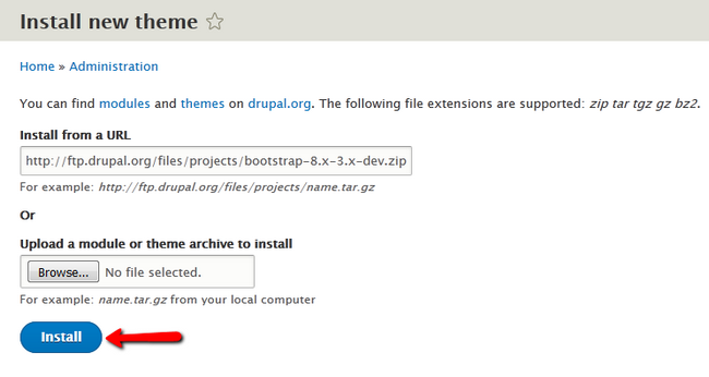 Installing a new Theme in Drupal