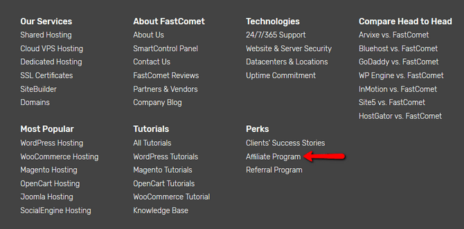 Access the FastComet Affiliate Program via the Website Footer