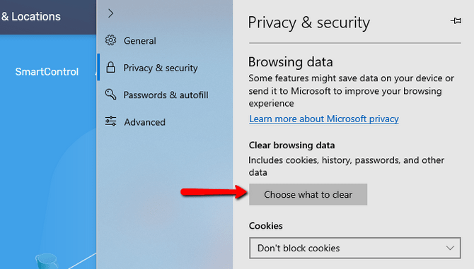 Access the Privacy and Security Settings in Microsoft Edge