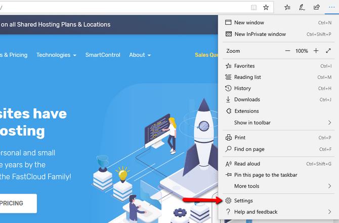 Access the Settings Menu in Microsoft Edge