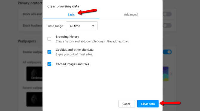 Clear Cached Images and Files in Opera