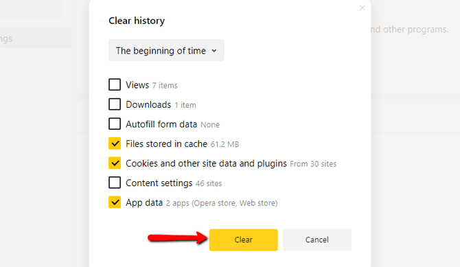 Clear the Files Stored in Cache inside Yandex