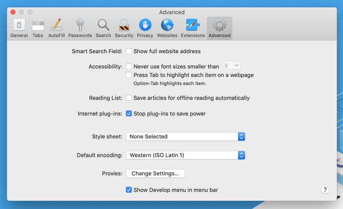 Enable Access to the Develop Menu in Safari