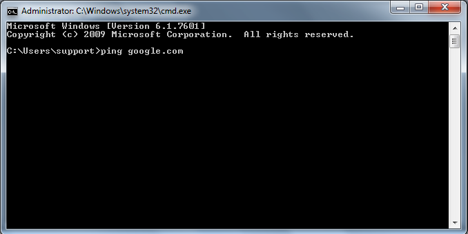 Ping Google using Command Promot