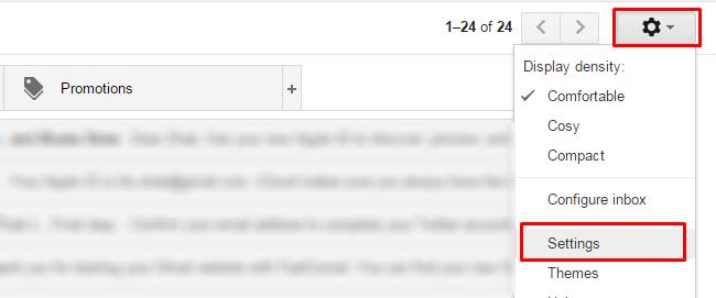 Accessing the Gmail Settings menu