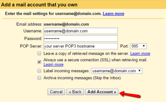 Configuring the settings for your personal email