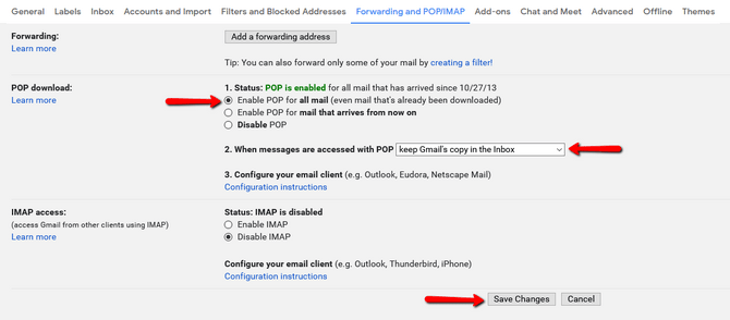 Gmail Email Forwarding POP Enable