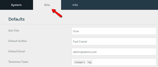 Configuring the Website settings in Grav