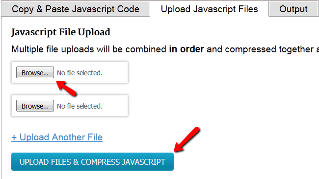 Uploading multiple JavaScripts for minifying