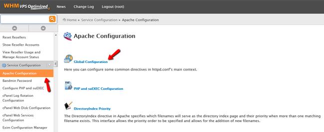 Accessing the Apache Configuration Menu