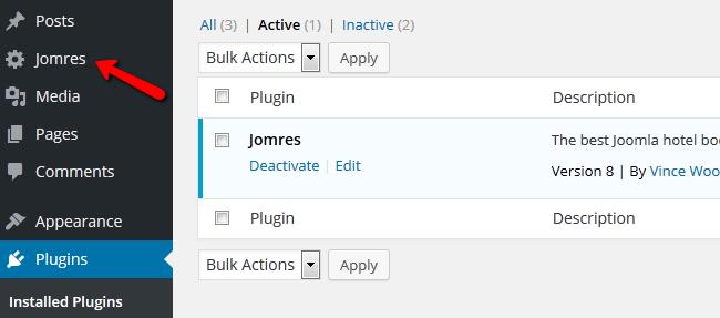 accessing the Jomres plugin