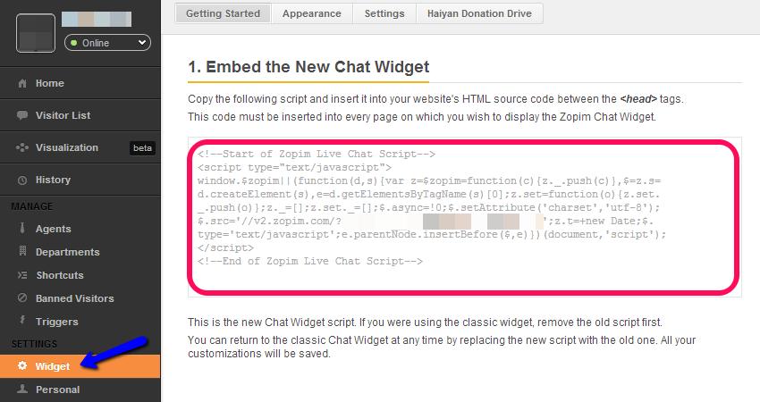 Locate Zopim Widget Code