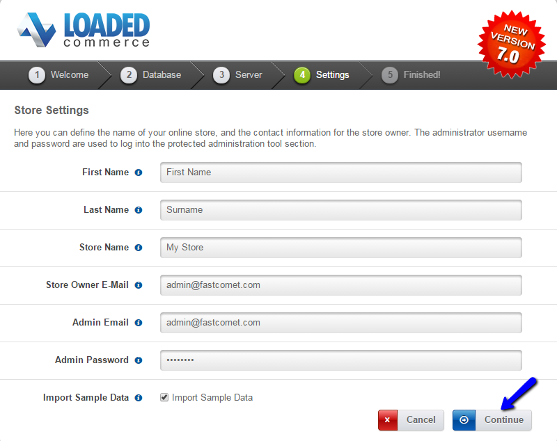 Loaded Commerce installation admin account setup