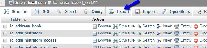 Export database via phpMyAdmin
