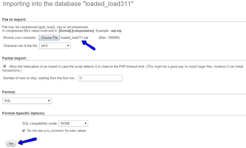 Import Loaded Commerce database via phpMyAdmin