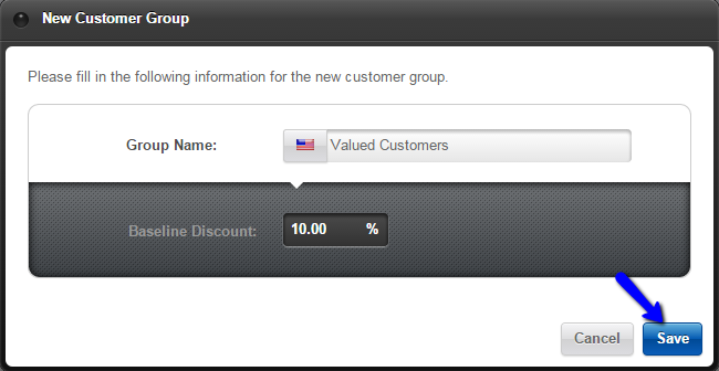 Customer group details in Loaded Commerce