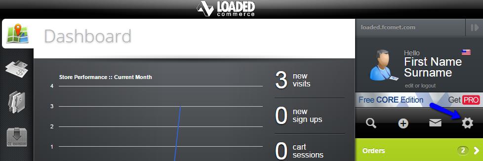 Access settings menu in Loaded Commerce