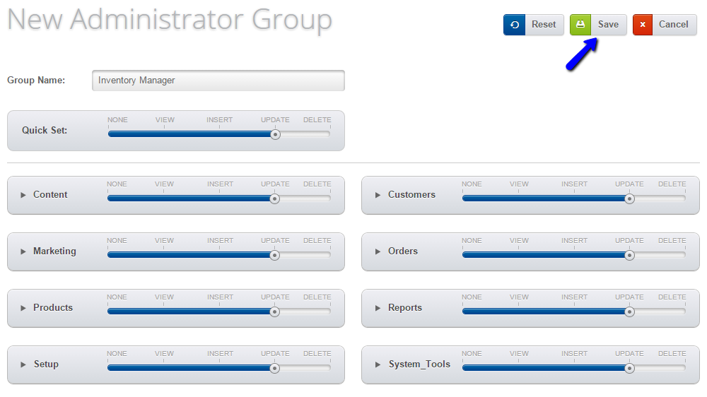 Edit administrator group details in Loaded Commerce