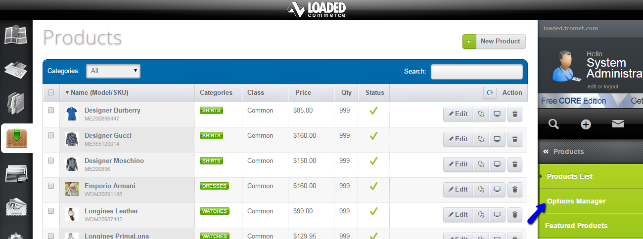 Access options manager in Loaded Commerce