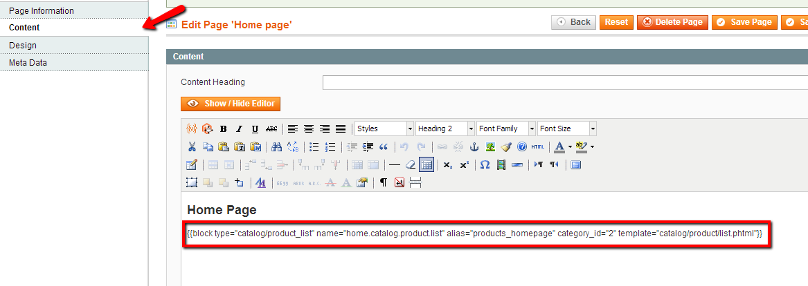 Magento home page content