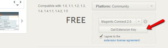 Obtain Magento extension key