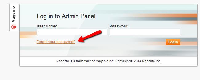 Magento forgotten password