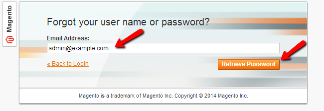 Magento reset password
