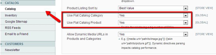 Magento flat catalog