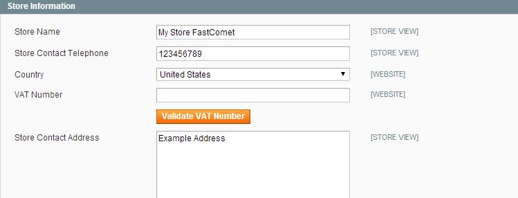 Magento Store Information