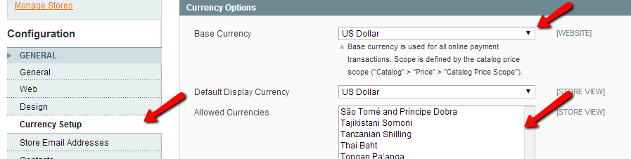 Configure magento currencies