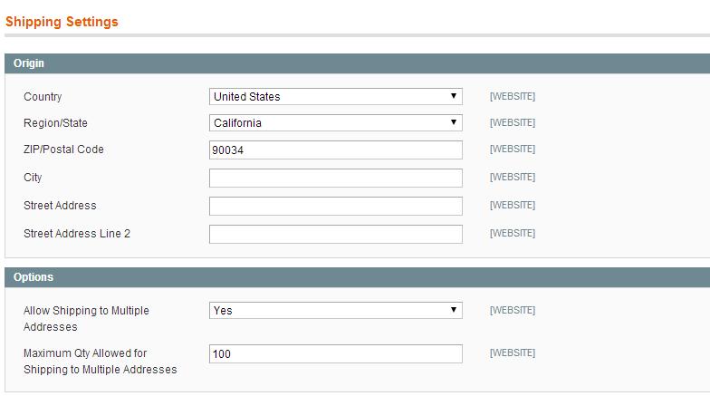 Magento shipping options