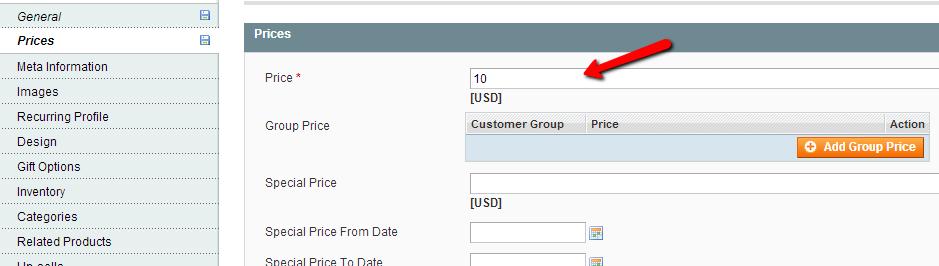 Magento product price menu